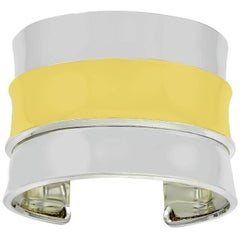 Sculptural Cartier Sterling Silver and Gold Cuff