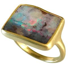 Dalben Sunset Boulder Opal Gold Ring