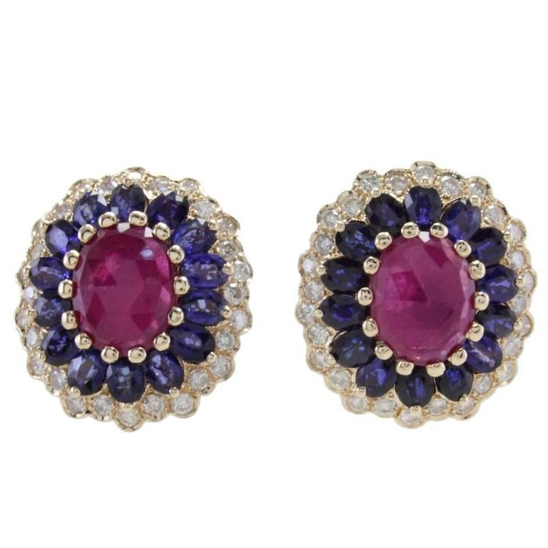 Diamonds Blue Sapphires Rubies Gold Clip-On Earrings