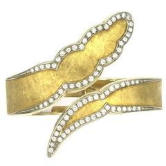 1970's Diamond 18 Karat Yellow Brushed Gold Bypass Bangle Bracelet