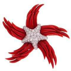 """""""Stella dei Palme"""" Red Coral and Diamond Starfish Brooch"""