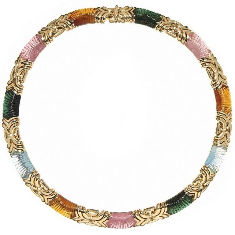 Bvlgari Carved Tourmaline Citrine Aquamarine 18 Karat Yellow Gold Necklace For Sale