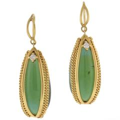 Anthony Nak Micro Gold Chain and Tourmaline Drop Earrings