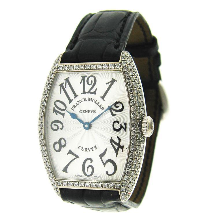 Franck Muller Ladies White Gold Diamond Curvex Quartz Wristwatch