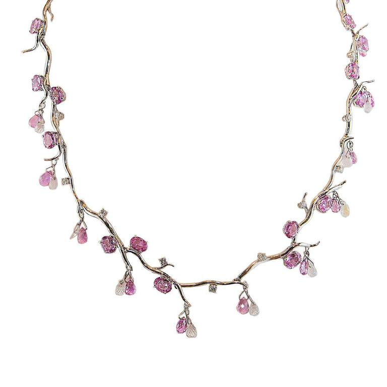 Pink Sapphire Briolette Moonstone Diamond Gold Necklace