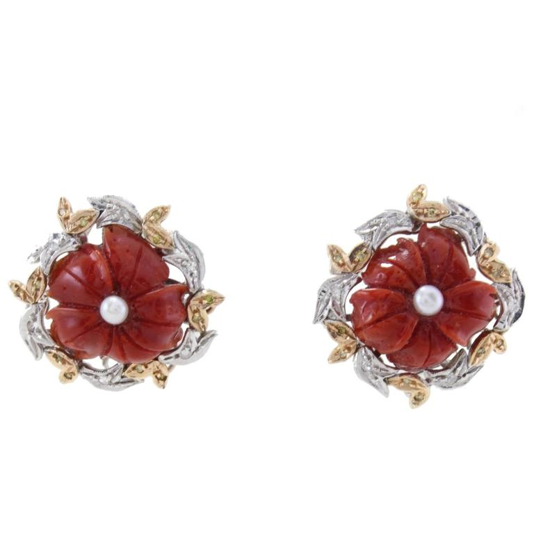 Diamonds Coral Pearls Clip-On  Gold Earrings