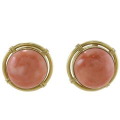 Luise Button Coral Gold Clip-On Earrings