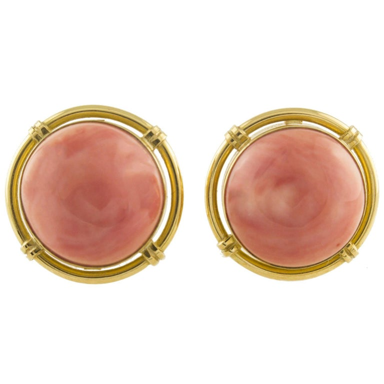 Button Coral Gold Clip-On Earrings For Sale