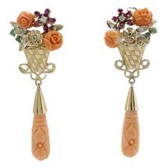 Luise Diamonds Emeralds Rubies Tsavorite Coral Dangle Earrings