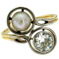 Antique Diamond Pearl Platinum Gold Vous et Moi Ring