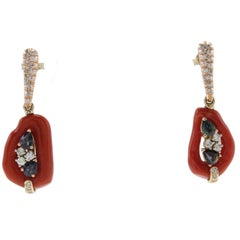 Diamonds, Blue Sapphires, Emeralds, Red Corals, Rose Gold Dangle Earrings
