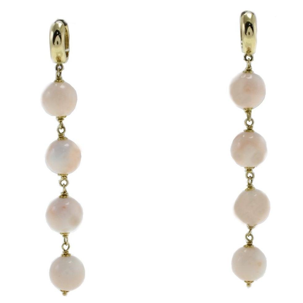 Pink Coral Spheres, 18K Yellow Gold Dangle/Drop Earrings