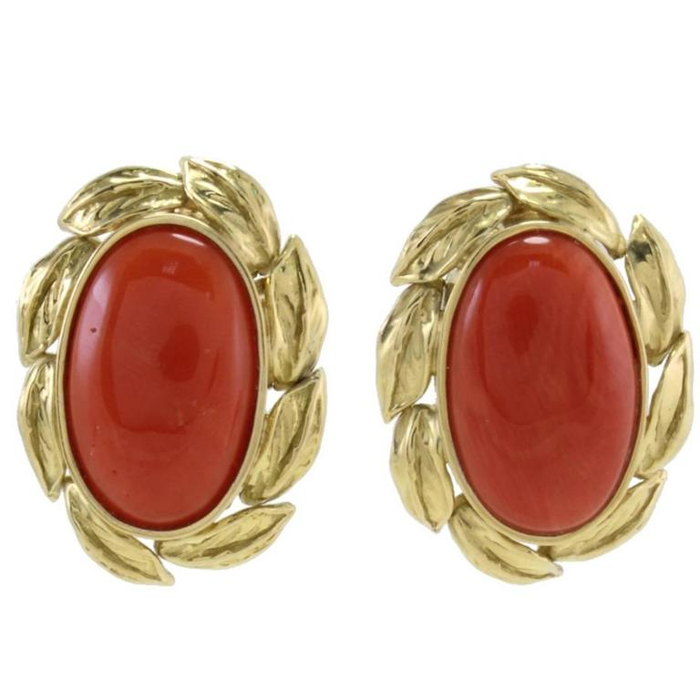 Coral Gold Clip-On Earrings