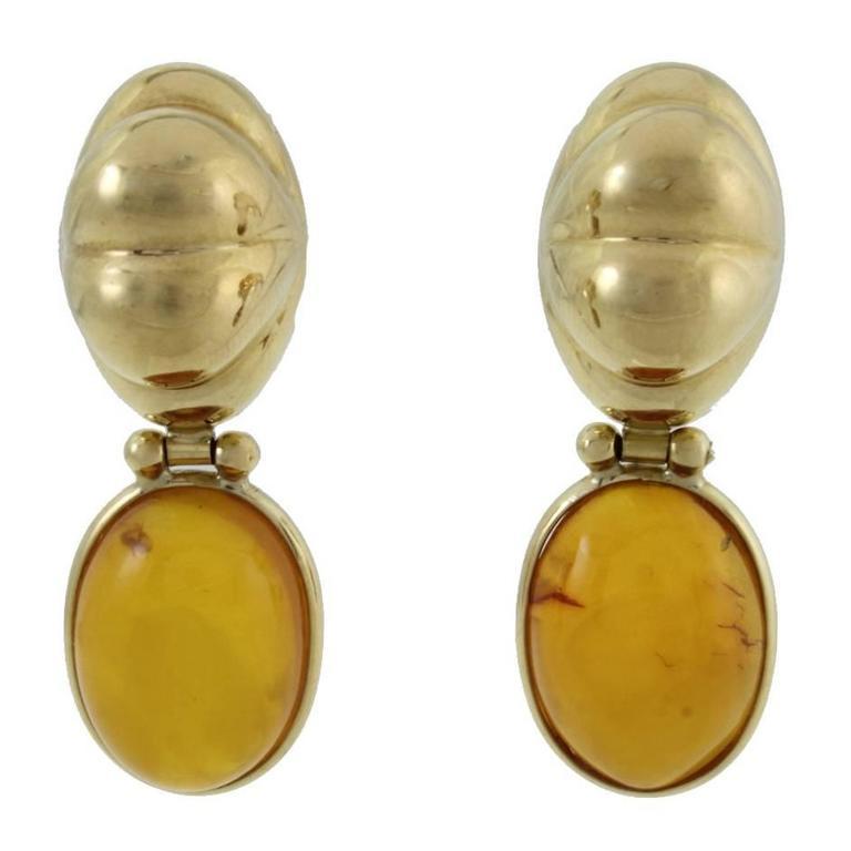 Amber 18 kt Gold Stud Earrings