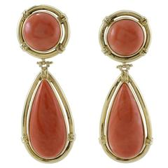 Luise Coral Gold Drop Earrings