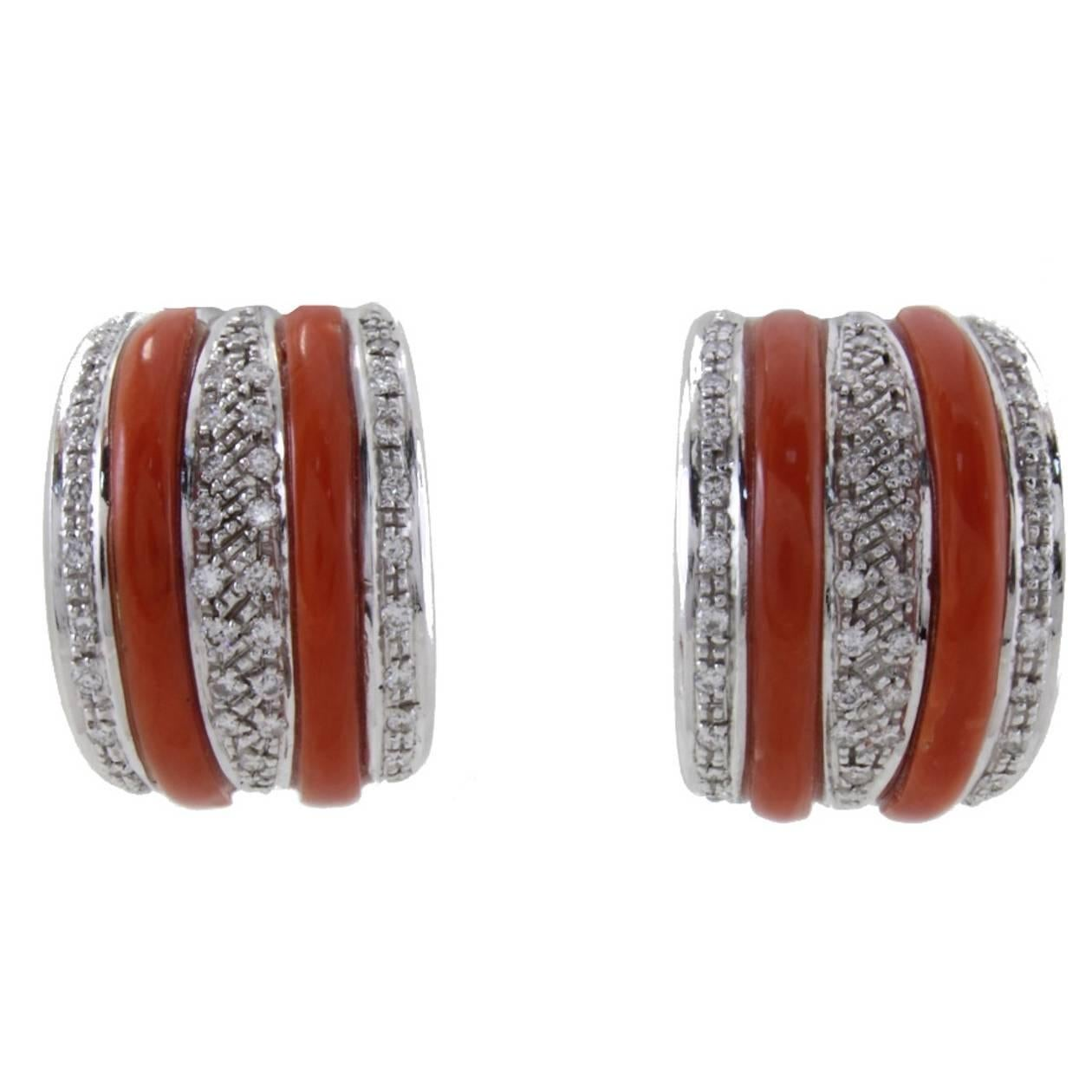 White Diamonds, Red Corals,White Gold Clip-on Earrings