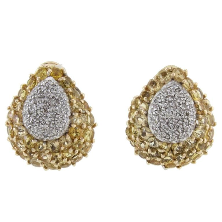 Diamonds Yellow Topaz Gold Clip-On Earrings