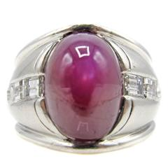 Burma No Heat 11 Carat Sugar Loaf Cabochon Ruby Diamond Platinum Ring
