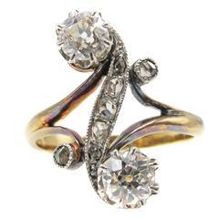 French Belle-Époque Diamond Toi et Moi Ring