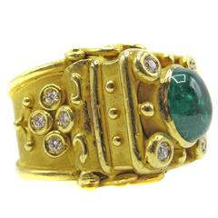 Colombian Cabochon Emerald Diamond Gold Ring, 1980s
