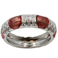 Hidalgo Ring with Pink Enamel and Diamonds