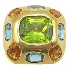 Peridot Citrine Topaz Yellow Gold Ring