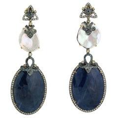Sliced Blue Sapphire, Pearl and Diamond Earring