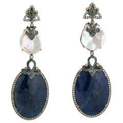 Sliced Blue Sapphire, Pearl and Diamond Earring