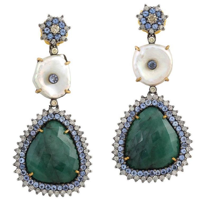 Emerald, Pearl Earring with Diamond and Tanzanite