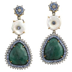 Emerald, Pearl Earring with Diamond and Tanzanite