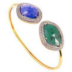 Tanzanite, Emerald with Diamonds Bangle