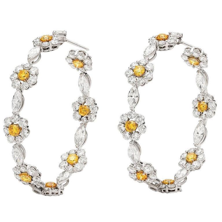 Impressive GIA Fancy Yellow Diamond Hoop Earrings at 1stdibs