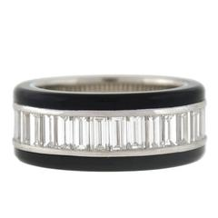 Contemporary 3.68 Carat Baguette Cut Diamond Onyx Eternity Band
