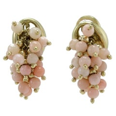 Pink Coral Little Spheres, 18K Yellow Gold Clip-on Retrò Earrings