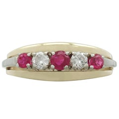 190s Ruby and Diamond Yellow Gold Ring