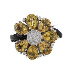 Diamonds Topaz Onyx Gold Ring