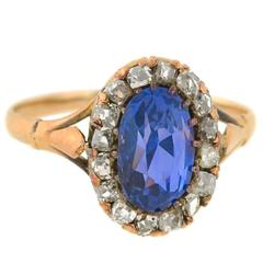 Victorian 1.50 Carat Natural Color Changing Sapphire Diamond Cluster Ring
