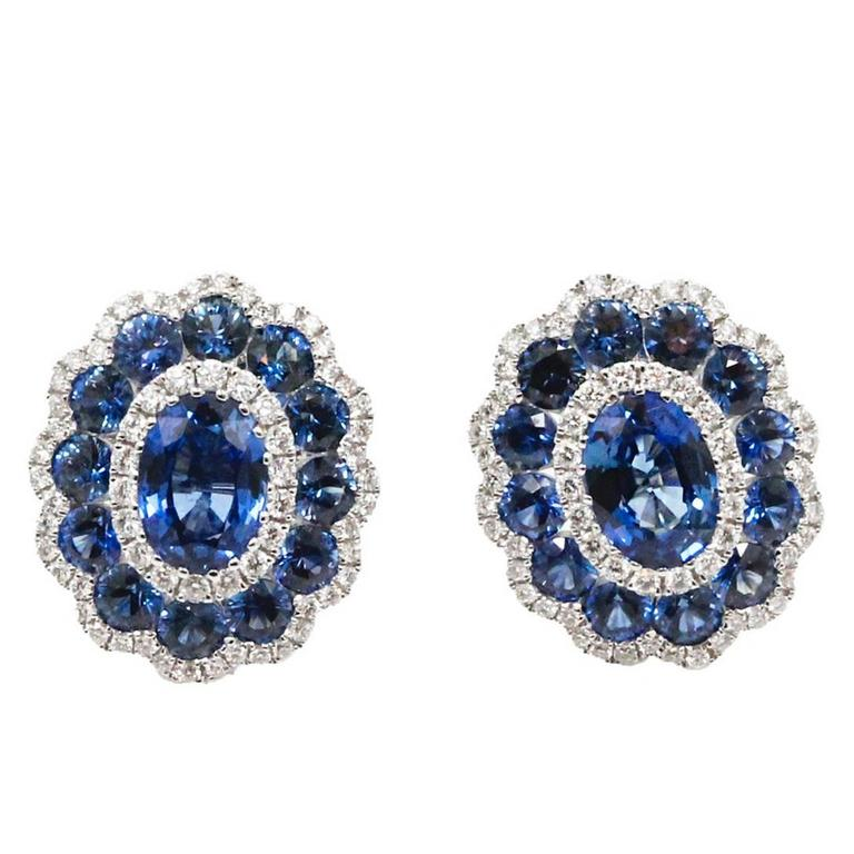 18 Karat White Gold Gregg Ruth Sapphire Earrings For Sale