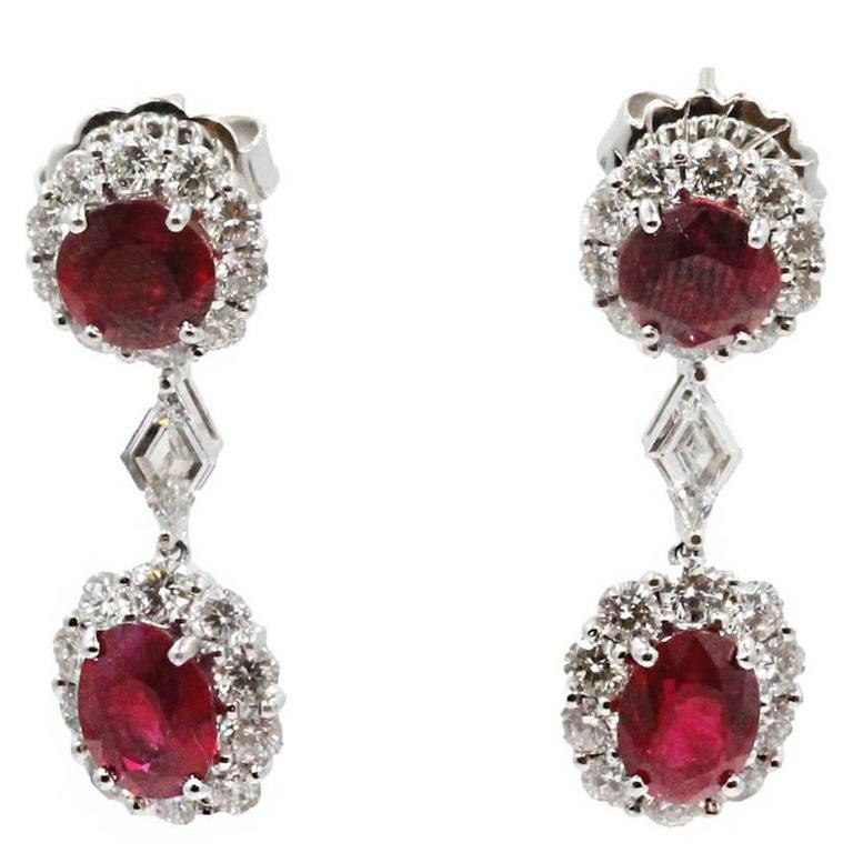 18 Karat White Gold Ruby Drop Earrings
