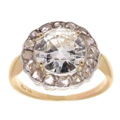 Antique Victorian 3.01 Carat Round Brilliant Cut Diamond Gold Platinum Ring
