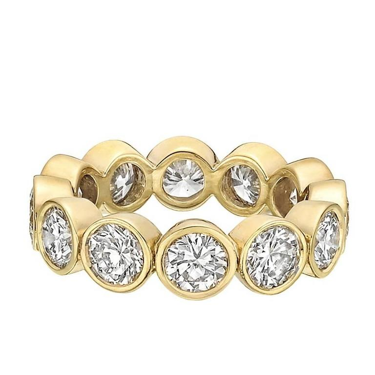 eternity anniversary white set wedding diamond semi gold bands band round cut in bezel ctw