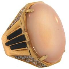 1970s Bulgari Coral Diamond Enamel Yellow Gold Ring