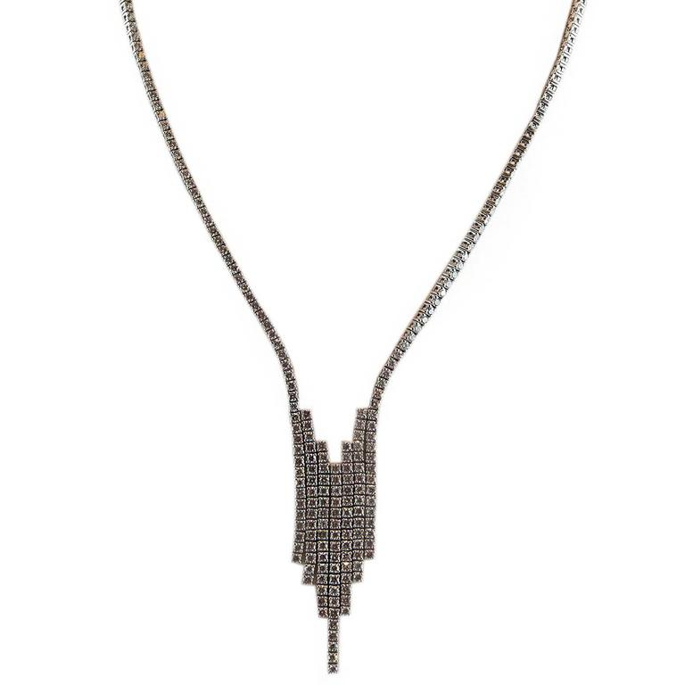 9.56 ct Diamond Gold Art Deco Style Drop Necklace 1