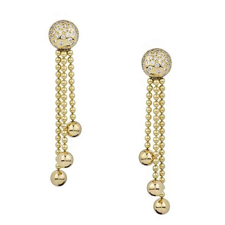 Cartier Draperie Diamond Set Gold Drop Earrings