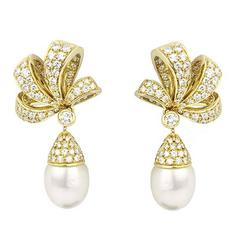 Tiffany & Co. Pearl and Diamond Earrings