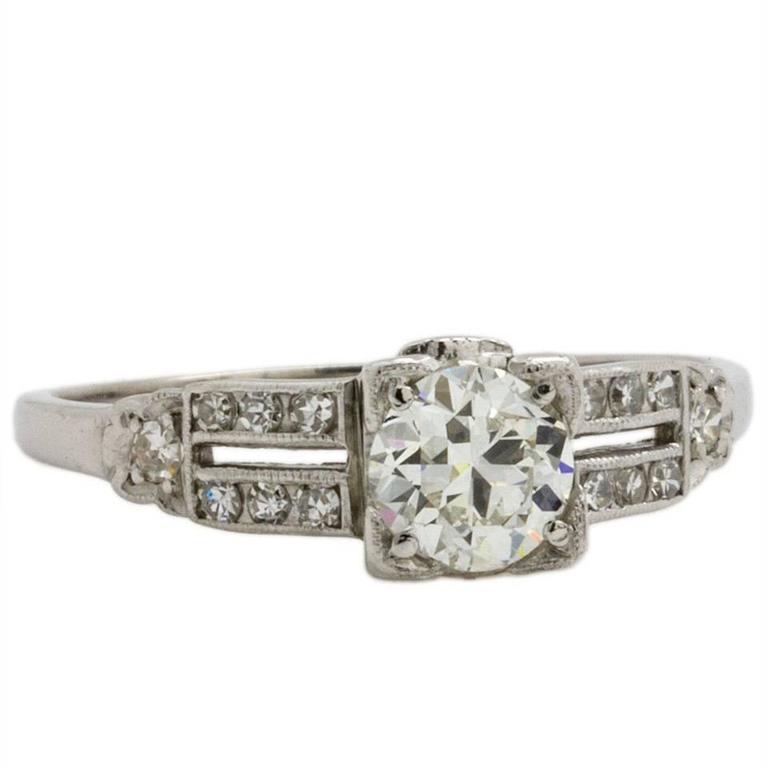 Vintage Art Deco Platinum .68 Carat G/VS1 Diamond Engagement Ring, circa 1930s