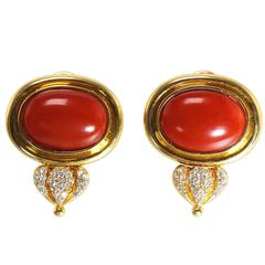 Coral Diamond and Gold Earclips