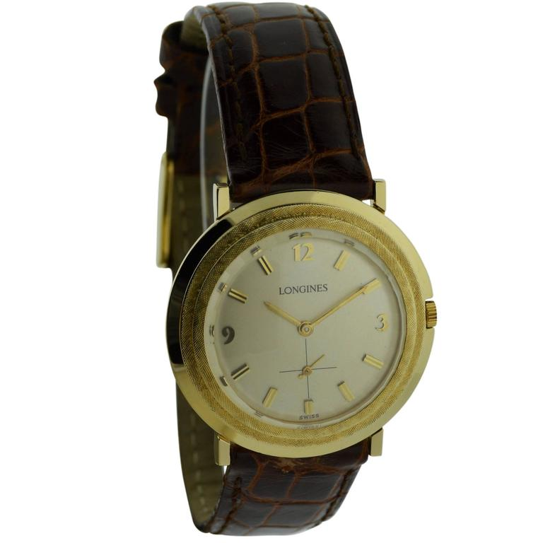 Longines Yellow Gold Manual Wind Watch For Sale