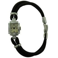 Movado Ladies Platinum Diamond Manual Winding Dress Watch