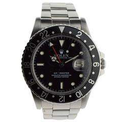 Rolex Stainless Steel GMT Black on Black Automatic Wristwatch
